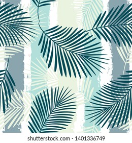 Tropical pattern, palm leaves seamless vector floral background. Exotic plant on stripes print illustration. Summer nature jungle print. Leaves of palm tree on paint lines. ink brush strokes