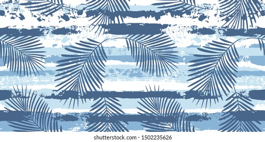 Tropical pattern, palm leaves seamless vector floral background. Exotic plant on sea stripes print illustration. Summer beach jungle print. Leaves of palm tree on paint lines. ink brush strokes