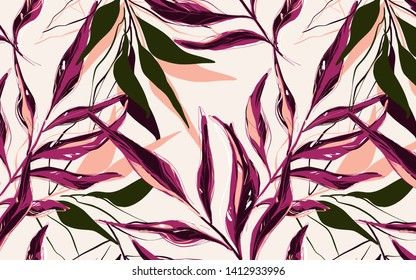 Tropical  pattern with palm tree  banana leaves drawn with contour lines against pink background. Backdrop with foliage of jungle plants. Vector   trendy illustration.
