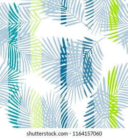 Tropical pattern, palm tree leaves floral jungle background. Exotic plant on stripes illustration. Summer nature print. Leaves of palm on paint lines. seamless vector