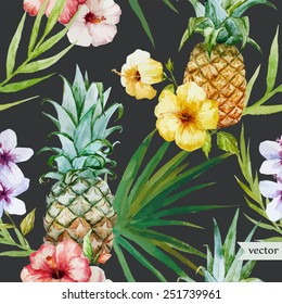 tropical pattern, pineapple, hibiscus, exotic