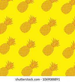Tropical pattern with pineapple Illustrator. design graphic. over yellow background
