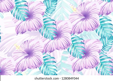Tropical pattern. Pink blue neon exotic summer flower vector background. Beauty fasion monstera, palm leaves and hibiscus flowers. Hawaiian tropic jungle endless print. Natural swimwear design.