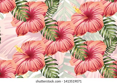 Tropical pattern. Red pink green exotic summer flower vector background. Beauty fasion monstera, palm leaves and hibiscus flowers. Hawaiian tropic jungle endless print. Natural swimwear design.