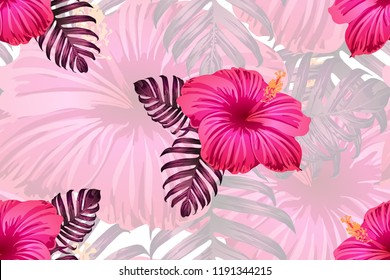 Tropical pattern. Red pink magenta exotic summer flower vector background. Beauty fasion monstera, palm leaves and hibiscus flowers. Hawaiian tropic jungle endless print. Natural swimwear design.