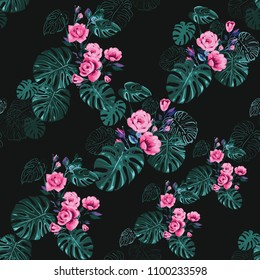 Tropical pattern with rose, monstera leaf and flowers, palm foliage. Vintage watercolor print with tropic flora. Summer seamless pattern background with floral elements on black backdrop.