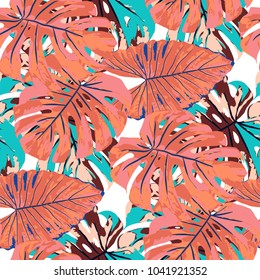 Tropical Pattern. Seamless Texture with Bright Hand Drawn Leaves of Exotic Tree. Trendy Rapport for Print, Paper, Swimwear. Vector Seamless Background with Tropic Plants. Watercolor Effect.