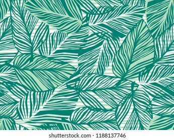 Tropical pattern, vector floral background. palm leaves seamless pattern, Abstact green leaves