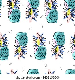 Tropical pineapple funky colorful seamless pattern in hand drawn cartoon doodle kid sketch style