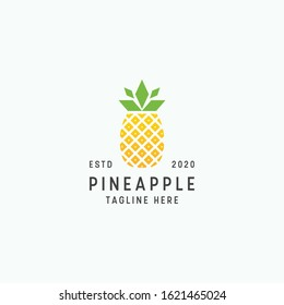 Tropical pineapple logo design template vector illustration