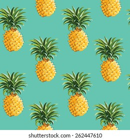 Tropical Pineapples Background - Seamless Pattern - in vector