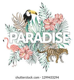 Tropical pink flamingo, toucan, leopard, palm leaves, text Paradise, white background. Print for t shirt, card, poster template. Vector illustration. Summer beach floral design with birds and animal