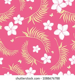 Tropical pink flowers seamless repeat pattern. Great for summer exotic wallpaper, backgrounds, packaging, fabric, and giftwrap projects. Surface pattern design.