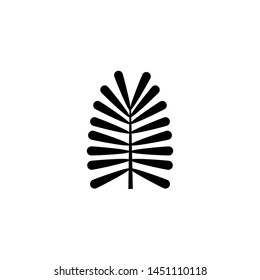 Tropical Plant, Fern Leaf, Branch. Flat Vector Icon illustration. Simple black symbol on white background. Tropical Plant, Fern Leaf, Branch sign design template for web and mobile UI element
