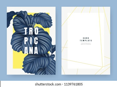 Tropical plant invitation card template design, dark blue Calathea orbifolia plant on yellow background, pastel vintage style