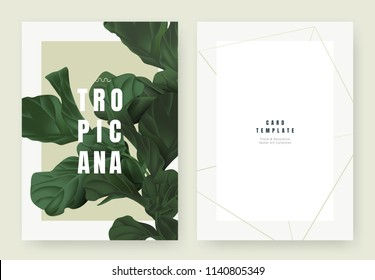 Tropical plant invitation card template design, dark green
