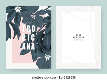 Tropical plant invitation card template design, dark green Schefflera arboricola or umbrella tree on light red background, pastel vintage style