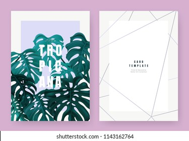 Tropical plant invitation card template design, dark greensplit-leaf Philodendron plant on light orange background, pastel vintage style