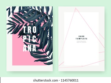 Tropical plant invitation card template design, dark green Dypsis lutescens or yellow palm on pink background, pastel vintage style
