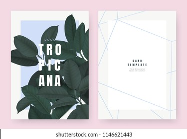 Tropical plant invitation card template design, dark green Ficus Elastica / rubber plant on light blue background, pastel vintage style