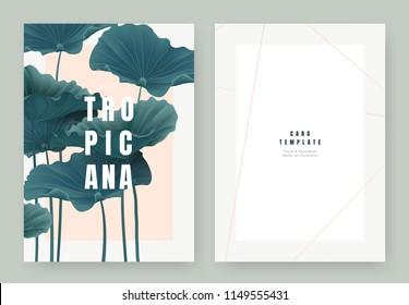 Tropical plant invitation card template design, dark greenlotus leaves on light orange background, pastel vintage style
