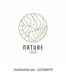 Tropical plant logo. Abstract badge for natural products, flower shop, cosmetics, ecology concepts, health, spa, yoga Center. Vector