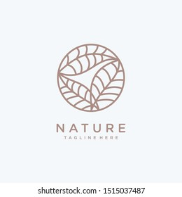 Tropical plant logo design template. Round emblem leaves in linear style. Vector abstract badge.