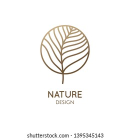 Tropical plant logo. Outline emblem flower or feather in a circle in linear style. Vector abstract badge for design of natural products, flower shop, cosmetics, ecology concepts, health, spa, yoga