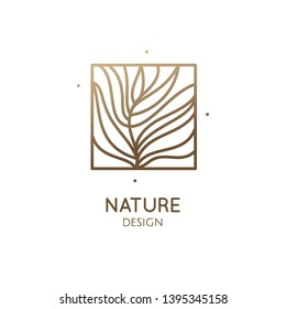 Tropical plant logo. Outline emblem of flower or feather in square shape, linear style. Vector abstract badge for design of natural product, flower shop, cosmetics, ecology concepts, health, spa, yoga