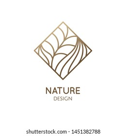 Tropical plant logo. Outline simple emblem of flower in rhombic shape, linear style. Vector abstract badge for design of natural product, flower shop, cosmetic, ecology concepts, health, spa, yoga.
