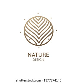 Tropical plant logo. Round emblem of flower in a circle in linear style. Vector abstract badge wavy lines for design of natural products, flower shop, cosmetics, health, spa, yoga Center. Herbal plant