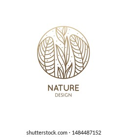 Tropical plant logo. Round emblem floral plant in linear style. Vector abstract badge flower for design of natural product, flower shop, cosmetics, floristic, ecology, health, medicine, healthy food