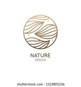 Tropical plant logo. Round emblem flower in linear style. Herbal plant pattern icon. Vector abstract badge for design of natural products, flower shop, cosmetics, ecology concepts, health, spa.