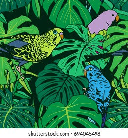 Tropical plant seamless pattern with birds