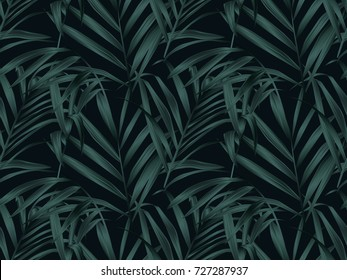 Tropical plant seamless pattern, palm leaves on black background