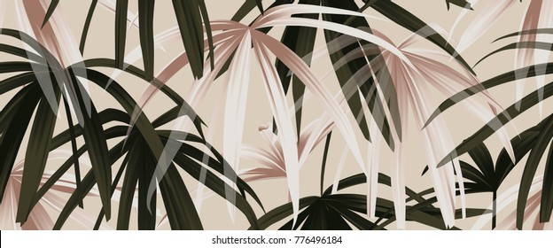 Tropical plant seamless pattern, rose gold and green palm leaves on light pink background