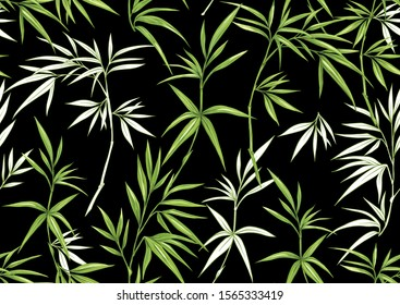 Tropical plants and flowers. Seamless pattern, background. Colored and outline design. Vector illustration isolated on black background