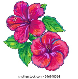 Tropical plants isolated on white. Hibiscus red flower and leaves. Vector illustration.