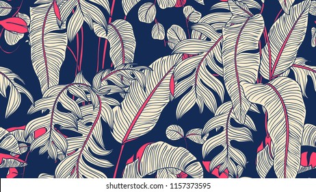 Tropical plants seamless pattern, Bird of paradise, Selenicereus chrysocardium and Hoya obovata on blue background, blue and pink tones