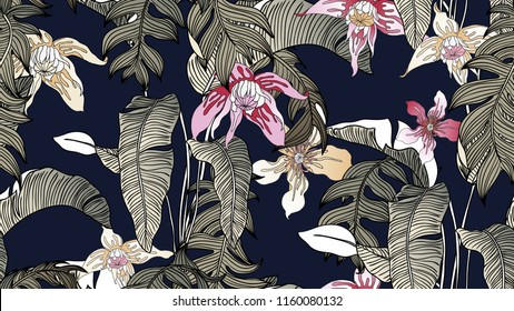 Tropical plants seamless pattern, Bird of paradise, Selenicereus chrysocardium and Clematis alpina flowers on dark blue background, line art ink drawing in dark tone