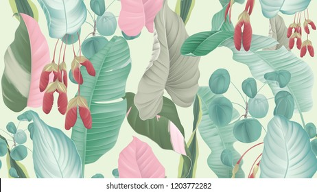 Tropical plants seamless pattern, tropical foliage and Red maple seeds on light green background, pastel vintage theme