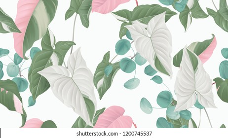 Tropical plants seamless pattern, Syngonium podophyllum albo-variegatum, Pilea peperomioides and Philodendron pink princess on light grey background, pastel vintage theme