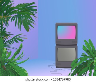 Tropical plants and stack of crt tv in vaporwave room neon glow ambience, aesthetic background illustration