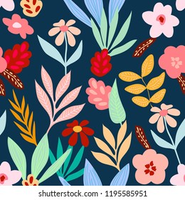 Tropical print with bright floral element. Seamless vector pattern with palm leaves, branches and retro style flowers inspired by 1960s design. Aloha textile collection. On dark blue background.