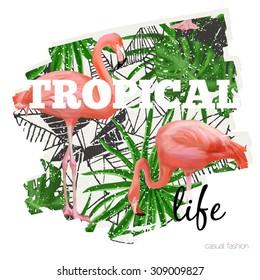 Tropical print with flamingo