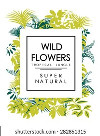Tropical print with slogan for t-shirt print or other uses in vector