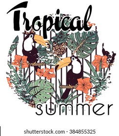 Tropical print with slogan in vector
