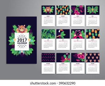 Tropical printable calendar 2017 with leopard, exotic flowers and fruits.