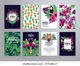 Tropical printable set. Vector cards, notes and banners with toucan, leopard, exotic flowers and fruits.