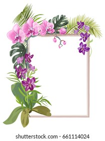 Tropical rectangular frame with bouquet pink, purple orchids, flowers and buds, green palm, bamboo, monstera leaves on white background, digital draw illustration, template for design, vector